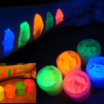 5 x 0.25 oz Fluorescent UV black light glow body paint set (blue, yellow, orange, green, red)