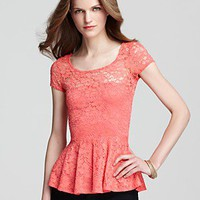 Aqua Top - Lace Peplum | Bloomingdale's