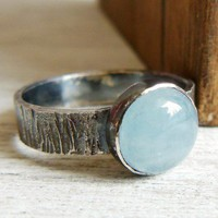 Aquamarine Gemstone Ring Bark Textured Sterling Band
