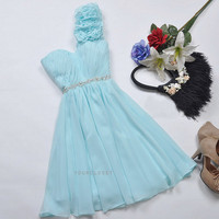Cute one-shoulder beading mini dress - 2colors
