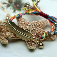 Feather Multicolor Cord Bracelet