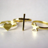 Stackable Cross Star Heart Adjustable Rings (Star ring, Cross ring, Heart ring)