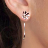 925 Wild flower long stem  sterling silver by RingRingRing on Etsy