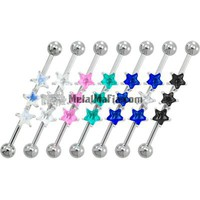 Metal Mafia: Stainless Steel Industrial Barbell with 3 Inline Stars