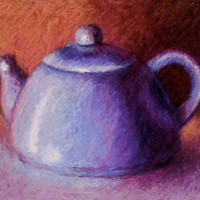 Blue Teapot  Original Pastel Painting 8 x 10 on by LittletonStudio