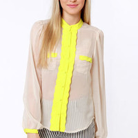 Call Me Darling Taupe and Yellow Button-Up Top