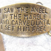 I Saw the Angel in the Marble Hand stamped quote by CobwebCorner