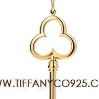 Shopping Cheap Tiffany Keys Trefoil Key Pendant Necklace in 18k Gold At Tiffanyco925.com - Discount Tiffany Necklaces