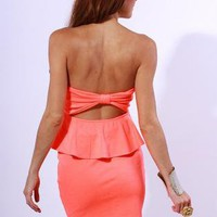 Neon Coral Peplum Dress