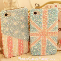 iPhone 5 case, iphone 4 case, iphone 4s case, iphone case, iphone 5 bling case, bling iphone 4 case USA flag, Unique iphone 5 case UK flag