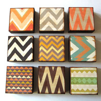 Art Block 5x5 Nine 9 Set Chevrons Triangles Zig Zags Black Orange Blue Green Yellow Free Shipping 