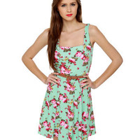 Lovely Floral Print Dress - Mint Green Dress - Belted Dress - $37.00