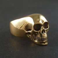 Statement Ring  Skull Ring  Bronze Human Skull Ring by LostApostle