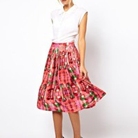 ASOS Midi Skirt in Digital Floral Print at asos.com