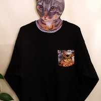 Cat pocket sweatshirt