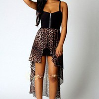 Hi Lo Dress in Leopard Print With Black Top [5093]