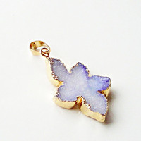 Beautiful White Purple Leaf Shaped  Edged in Silver Gold Druzy Pendant/ White OR Purple Drussy Druzzy Drusy Stone