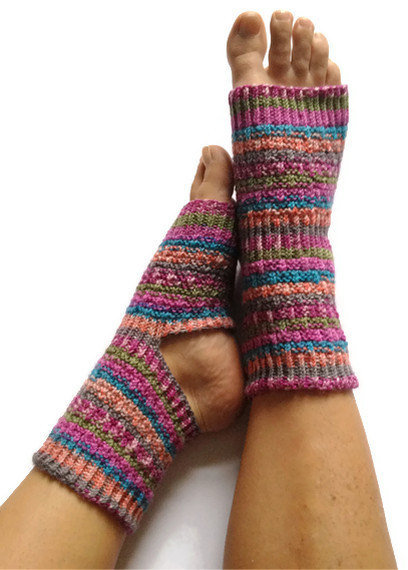 Toeless Yoga Socks Hand Knit... from MadebyMegShop on Wanelo