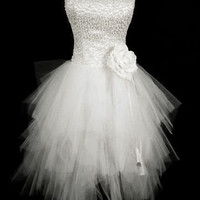 Beaded White Short Mini Cocktail Homecoming Evening Prom Wedding Gown Dress 2013
