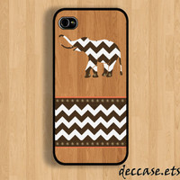 IPHONE 5 CASE wood chevron elephant on wooden chevron iPhone 4 case iPhone 4S case iPhone case Hard Plastic Case Soft Rubber Case