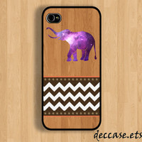 IPHONE 5 CASE Galaxy Space nebular elephant on wooden chevron iPhone 4 case iPhone 4S case iPhone case Hard Plastic Case Soft Rubber Case
