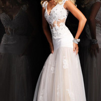 Whites Tulle Embroidery Bead Long Bridal Wedding Gowns Sexy Pageant Formal Dress