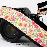 Camera Strap with Pocket, dSLR, Pink, Coral, Yellow, Floral, SLR