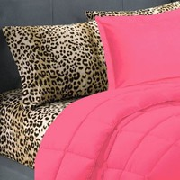 5 Piece Pink Leopard Twin Extra Long Bedding Set: Home & Kitchen