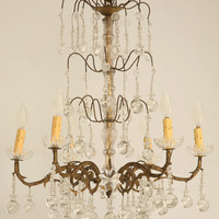 Vintage French Forties 6 Light Chandelier