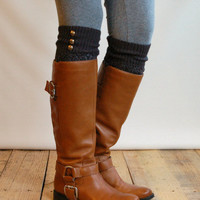 LouLou - Graphite: Open-work Leg Warmers w/ antique gold metal buttons - Legwarmers boot socks (item no. 9-23)