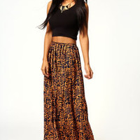 Kara Neon Print Crepe Maxi Skirt