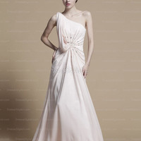 Find affordable A-line One Shoulder Chiffon Floor-length Pink Beading Prom Dresses