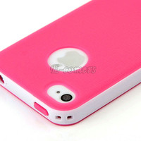 2-Piece Hybrid Soft TPU Hard Case Cover For iPhone 4 4S w/Stylus/Film/Stand