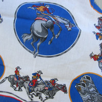 Vintage Cowboys and Horses Handkerchief in Blue and White, Made in USA // Vintage Square Scarf