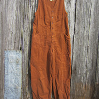 90s Brown Grunge Jumpsuit Made in USA, S // Vintage Dungarees // Grunge Overalls