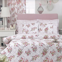Custom Queen Size Pastel Pink Floral Checked by MyveraLinen