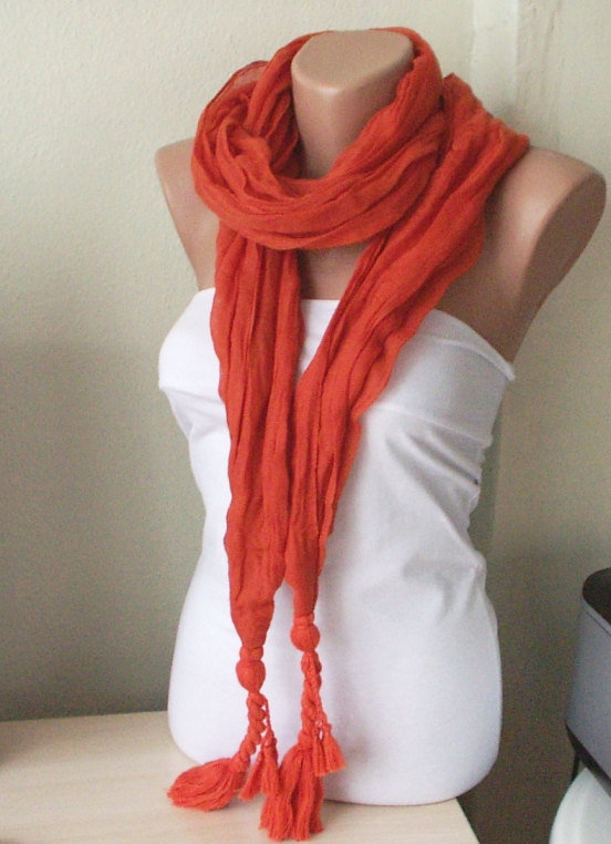 NEW 2012 Spring Model Brick red Color Web Scarf from 100 by Periay