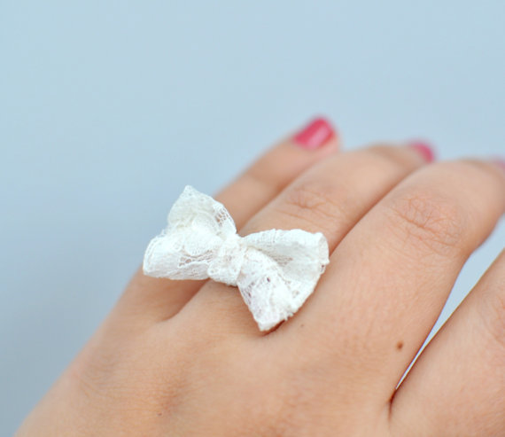Sweetheart Lace Bow Ring By KimArt