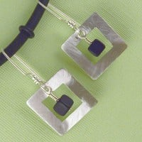 Square in Square Sterling and Onyx Earrings by lpjewelry on Etsy
