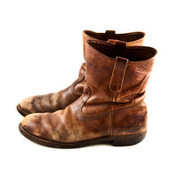 Vintage Leather Boots Men&#x27;s Rustic Distressed Old by goodmerchants