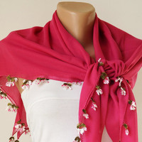 Pink, hot pink, Flower  Cotton with Handmade Turkish OYA Spring Scarf