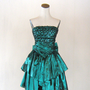 Emerald Green Sequin Metallic Party Dress Zum by RetroFascination