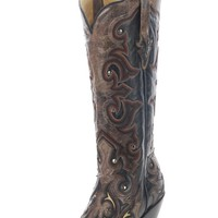 Corral Black/ Brown Overlay Cowgirl Boots