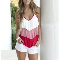 TIERED STRIPE AND SOLID V-NECK CAMI