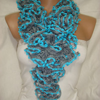 Hand knitted Gray&amp;Blue Ruffled scarf by Arzus