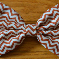 Orange Chevron Hair Bow by DreamingOfBows on Etsy