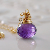 NEW Genuine Amethyst Necklace, Semiprecious Purple Gemstone Onion, February Birthstone, Wire Wrapped Gold Filled Jewelry, Free Shipping