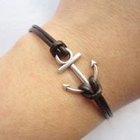 Braceletantique silver little anchor&amp;brown leather by lightenme