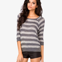 Striped Open Knit Top