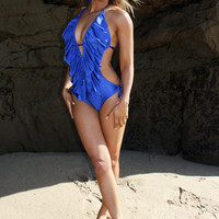 Low cut ruffle monokini
